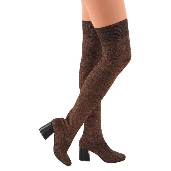 Brut-22 Glitter Slip On Chunky Heel Over The Knee Sock Stretchy Fitted Boots UAVOV Taille-40 p1Qimyj