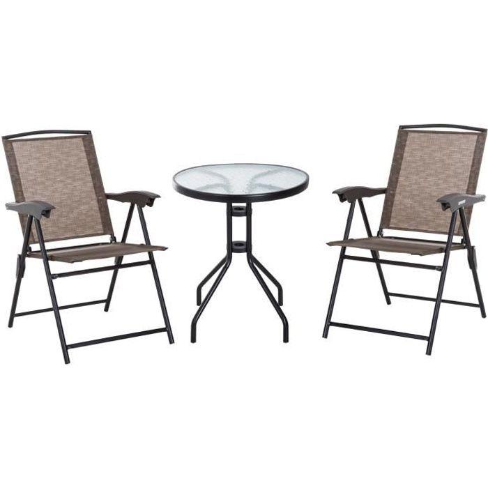 Ensemble de jardin 3 pièces 2 chaises inclinables multi-positions pliables  + table ronde verre trempé métal époxy textilène