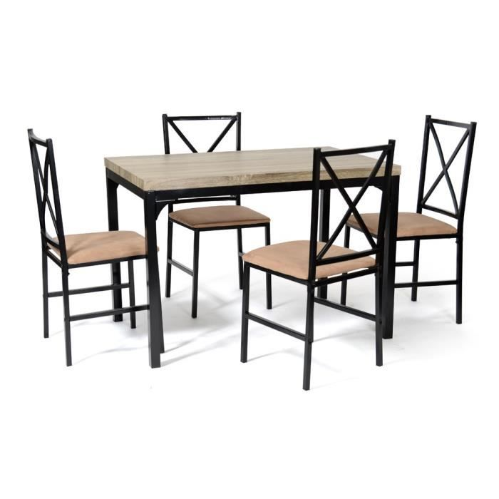Ensemble table 4 chaises forca noir camel achat vente table a manger co - Cdiscount table chaise ...