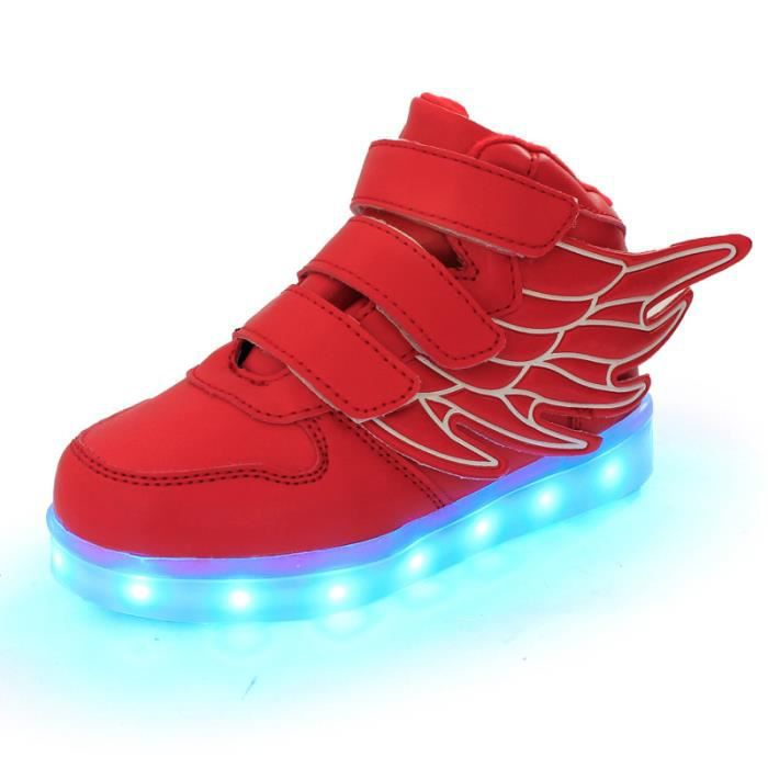 7 Couleur Enfant USB Charge LED Chaussure Lumineuse Ailes d'anges Baskets