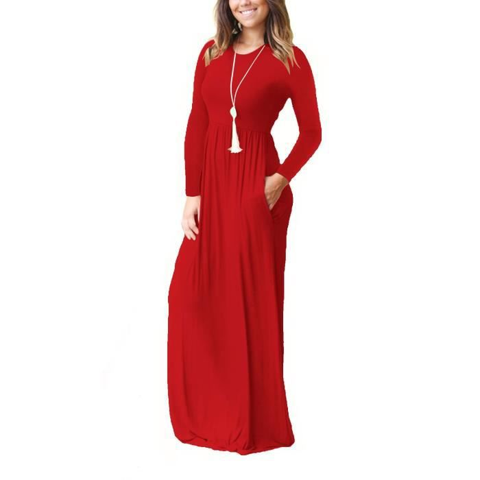 Casual Women Long - manches courtes Robe longue avec poches 2JA5P3 Taille-42