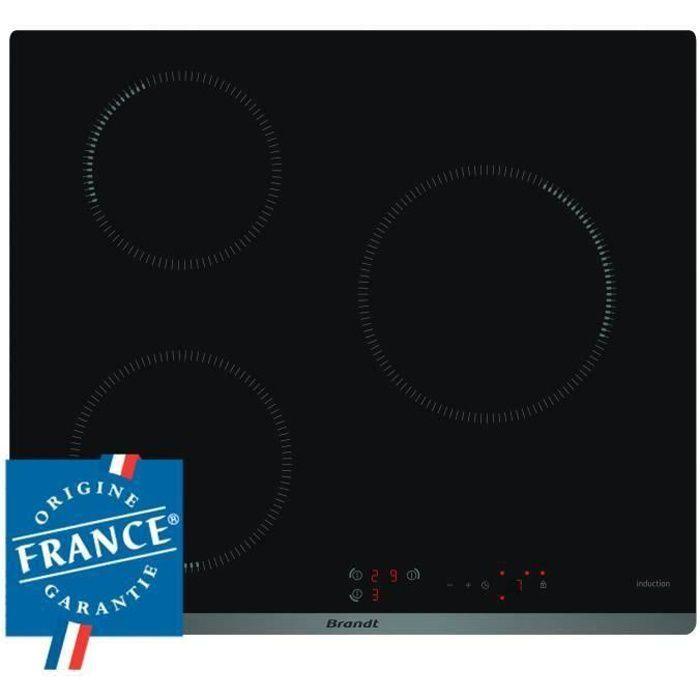 BRANDT BPI6310B - Table de cuisson induction - 3 zones - 4600W - L58 x P51cm - Revêtement verre - Noir