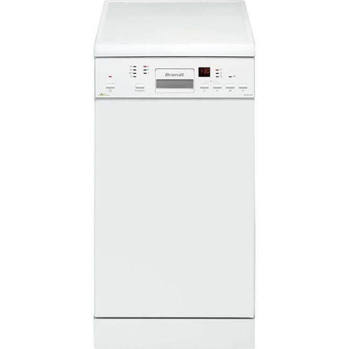 Lave-vaisselle pose libre BRANDT DFS1010W - 10 couverts - Largeur 45 cm - Classe A++ - 47 dB - Blanc