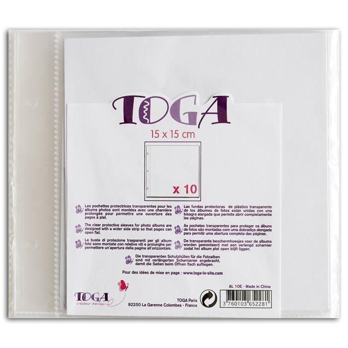 TOGA Lot de 10 pochettes transparentes 15x15 cm
