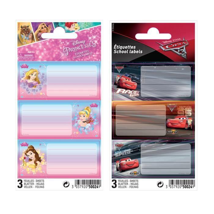 DISNEY CLASSIQUE 9 étiquettes adhésives 3 planches - 75 x 100 mm - 3 visuels assortis sous sachet
