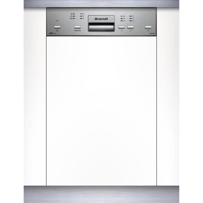 Lave-vaisselle encastrable BRANDT VS1010X - 10 couverts - Largeur 45 cm - Classe A++ - 47 dB - Bandeau inox/silver