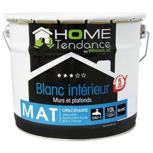 PEINTURE - VERNIS Peinture murale 10L blanc mat lessivable - HOME TE