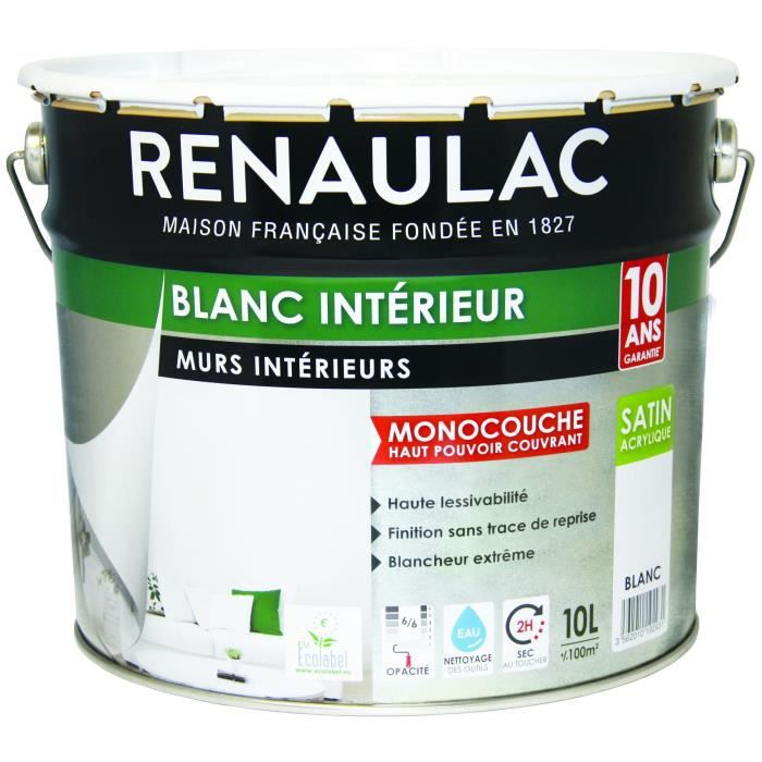 peinture murale monocouche acrylique 10 l satin blanc extr me renaulac achat vente. Black Bedroom Furniture Sets. Home Design Ideas