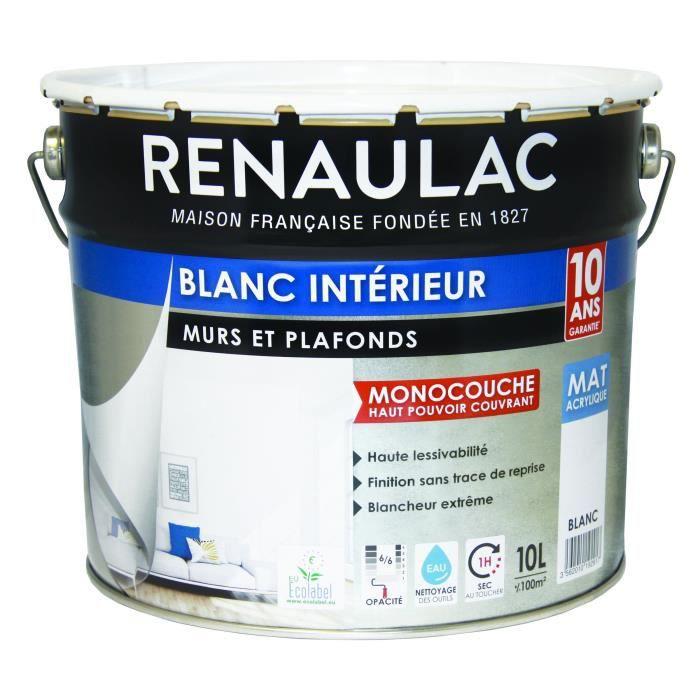 Peinture Murale Monocouche 10 L Mat Blanc Extrême Renaulac