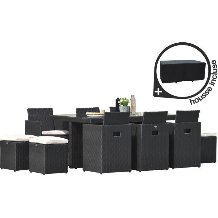 ensemble encastrable table de jardin 170x105x72cm 6 fauteuils 4 poufs noir achat vente. Black Bedroom Furniture Sets. Home Design Ideas