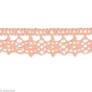 TISSU Dentelle coton fantaisie 1,3 cm - Rose clair au mè
