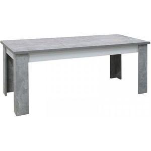 TABLE À MANGER SEULE Table de repas rectangulaire à allonge Blanc/Béton
