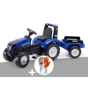 TRACTEUR - CHANTIER Tracteur enfant New Holland T8 + remorque + Gants
