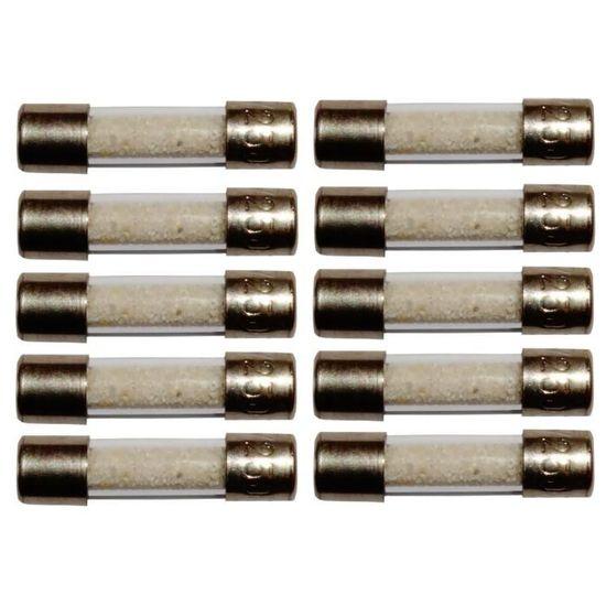 Aerzetix Lot de 10 fusibles semi-lents semi-retard/és semi-temporis/és en verre 2cm 20mm 5mm 5x20mm 220V 250V 8A