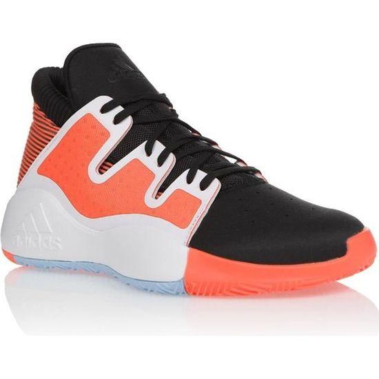 ADIDAS Chaussures de basketball PRO VISION - Homme - Blanc/Noir/Orange