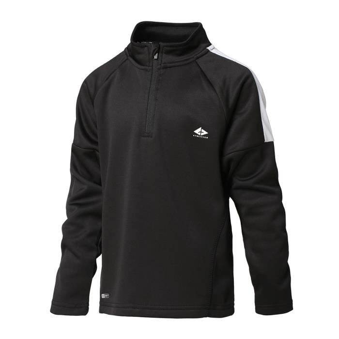 ATHLI-TECH Maillot de Football 1/2 zip - Enfant - Noir