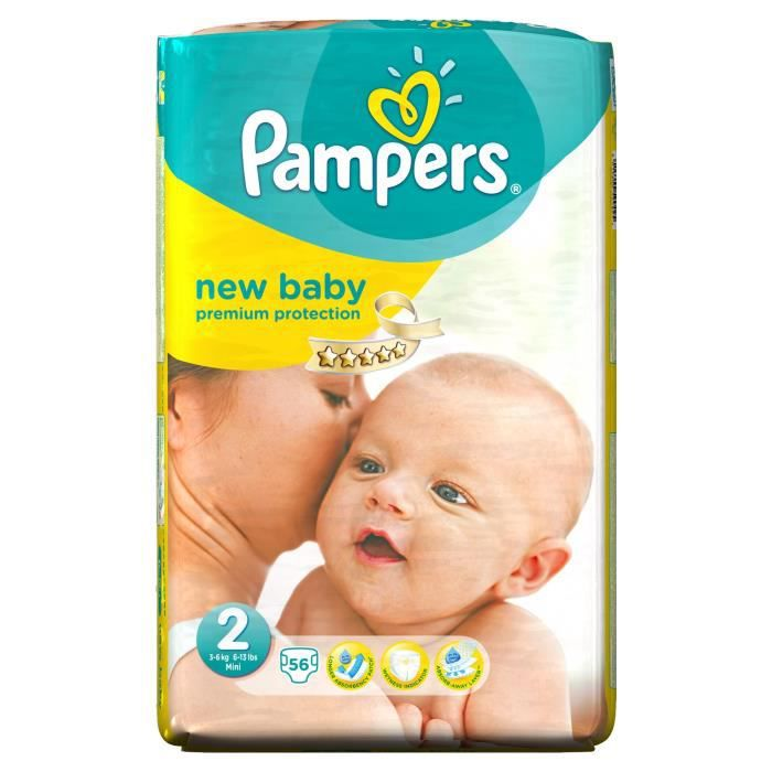 Pampers new baby taille 2 3 6 kg 56 couches format pack g ant vert blanc achat vente - Couche pampers new baby taille 2 ...