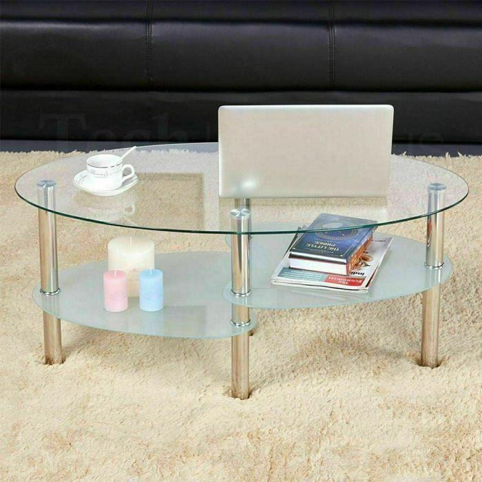 Table Basse Ovale Table de Salon Design Intemporel Armature en Acier Inox Couleur Blanc 90 x 50 x 43CM