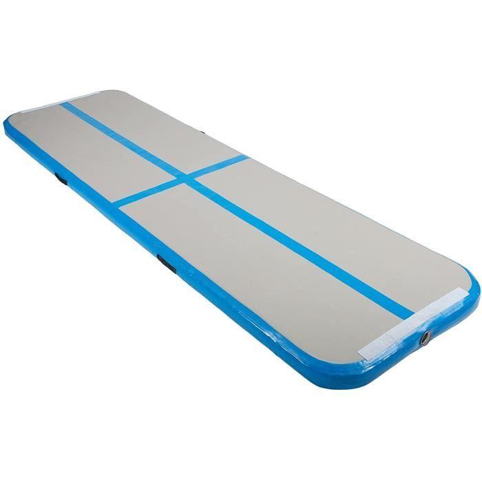 Tapis de Gymnastique Gonflable Airtrack Gymnastique PVC Tapis de Tumbling 300 x 100 x 10 cm sans Pompe pour Yoga-Taekwondo Bleu