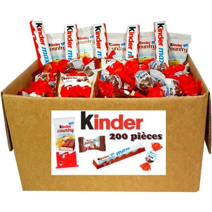 ASSORTIMENT BOX KINDER MINI SCHOKOBONS ET BUENO, BARRES MAXI ET COUNTRY - 200 pièces