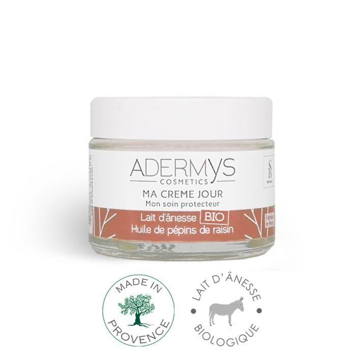 Crème de jour Adermys -Mon Soin Protecteur- 40ml - Lait Ânesse Bio, Huiles Pépins Raisin, Tournesol, Coco