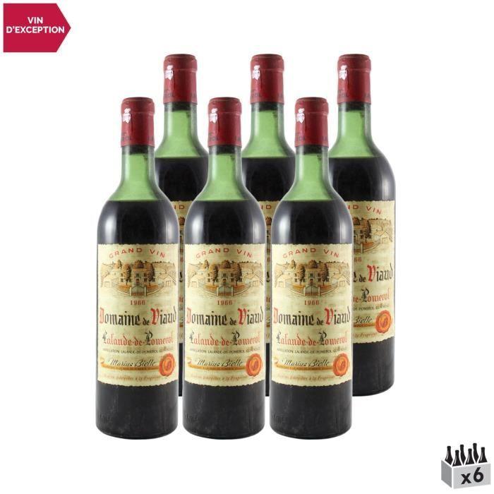Domaine de Viaud Lalande-de-Pomerol Rouge 1966 - Lot de 6x75cl - Vin AOC Rouge de Bordeaux - Cépages Merlot, Cabernet Franc