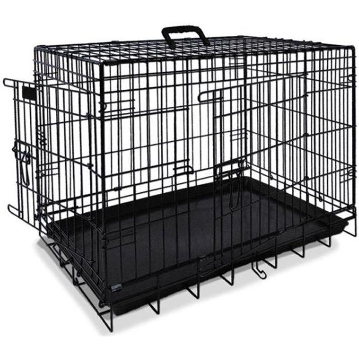 NOBBY Cage de transport métallique noire pour chien 64 x 48 x 54cm