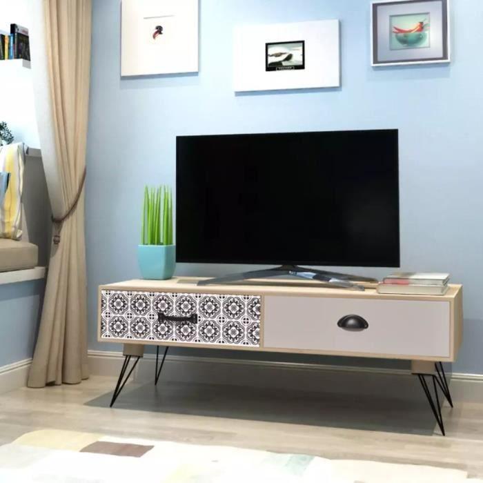 Meuble TV Table auxiliaire TV 100 x 40 x 35 cm- MDF + pieds en acier- Marron