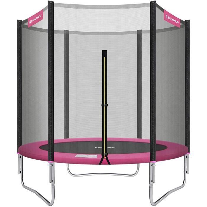 SONGMICS Trampoline extérieur, Diamètre 183 cm, Équipement Jardin, avec Filet de Protection, Poteaux recouverts, Sécurité testée12