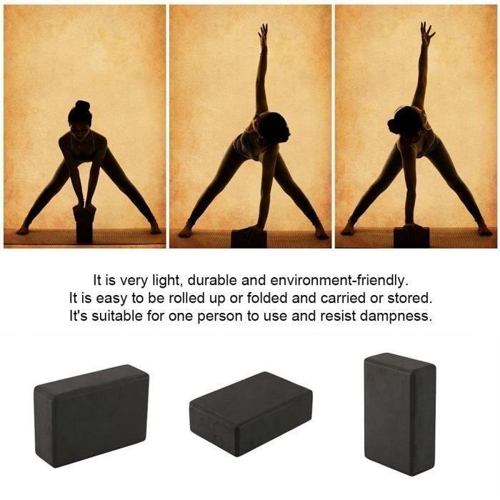 Briques Yoga (1pc noir) - 23 * 15 * 8 cm - Blocs de Yoga Block Pilates Bio en Mousse EVA Haute Densité Léger Confortable Antidérapan