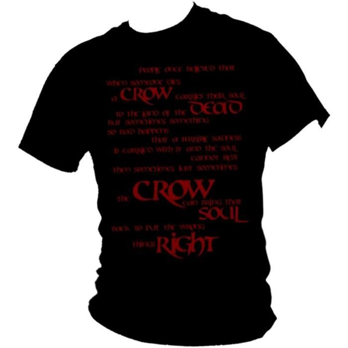 Brandon Lee - The Crow - - Corbeau Carries The Soul - - Gothique Citation de Film T-Shirt (Grand, Noir)