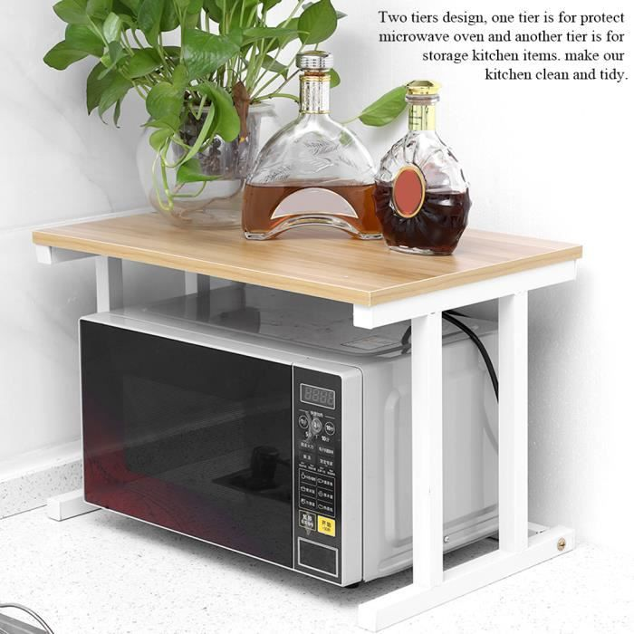 étagère Support de four à micro-ondes 57 *38 *38cm de rangement pour armoire de cuisine de comptoir à 2 couches - blanc HB037