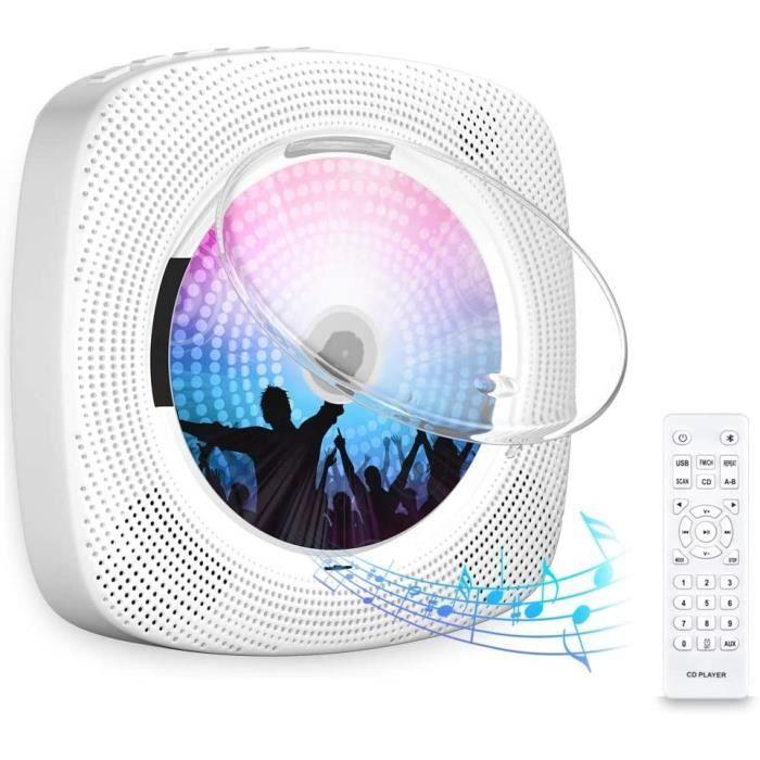 LECTEUR DVD PORTABLE Gueray Lecteur CD Portable Bluetooth Mural Haut-Parleur HiFi Int&eacutegré avec Couvercle Anti-po91
