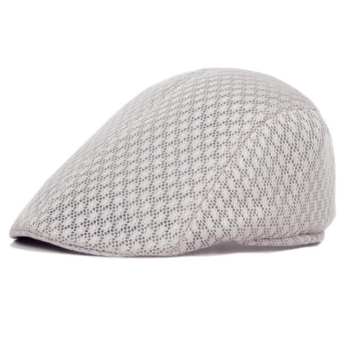 Chapeau béret de couleur unie casquettes respirantes chapeau de soleil d'été pour hommes Kaki clair