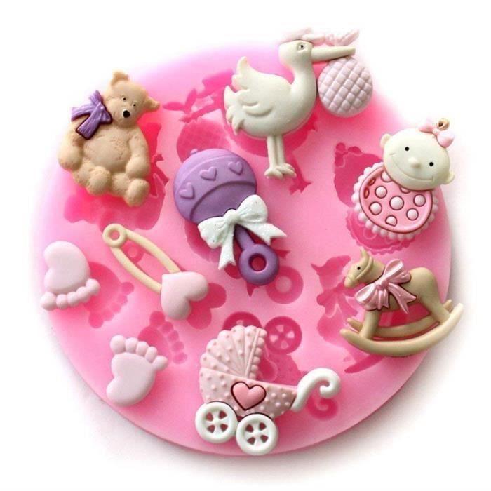 Mini Silicone Sugar, Fondant and Cake Mold, Baby Shower Theme, Pink LIA13833