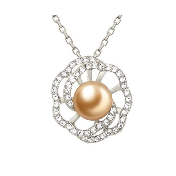 Idée Cadeau Noël - Pendentif Fleur en Perle et Cristal de Swarovski Elements et Plaqué Or jaune - Blue Pearls