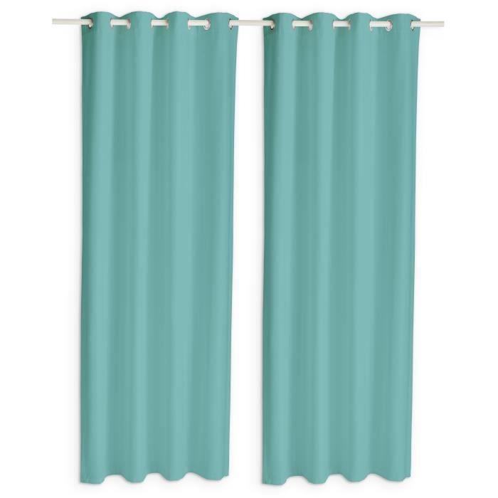 TODAY Paire de rideaux occultants à œillets - 140 x 260 cm - Bleu diabolo menthe