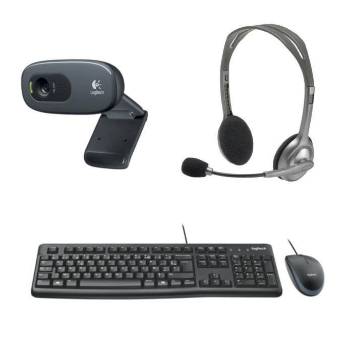 LOGITECH - Pack clavier souris filaire MK120 + webcam middle C270 + casque H110