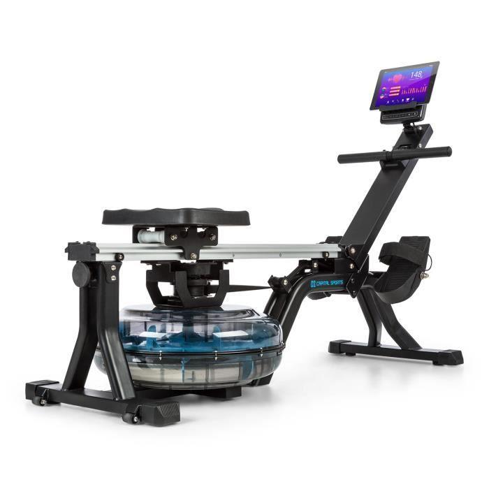 CAPITAL SPORTS Flow M1 rameur à eau écran LCD réglable sur 80 cm acier noir