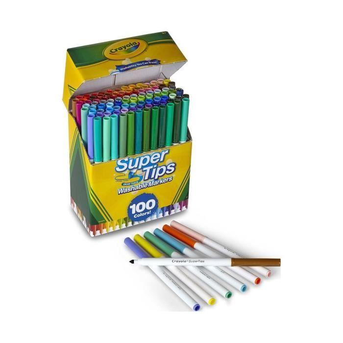 Crayola Super Tips Marqueurs lavables, 100 Count, en vrac, idéal pour les enfants QK8I2