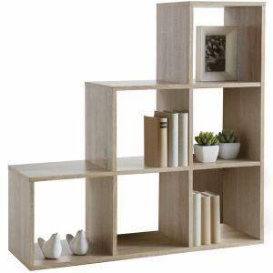 Bibliothèque 6 cases en escalier chêne brut -Cosmo-