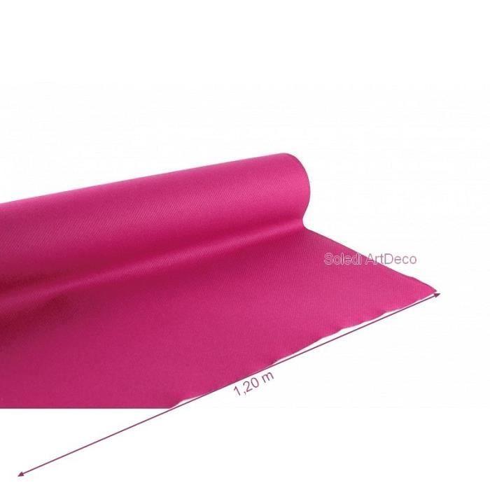 Rouleau Nappe Framboise non-tissé, dim.1.20 x 10 m, effet tissu rose Airlaid pour mariage cérémonie - Unique