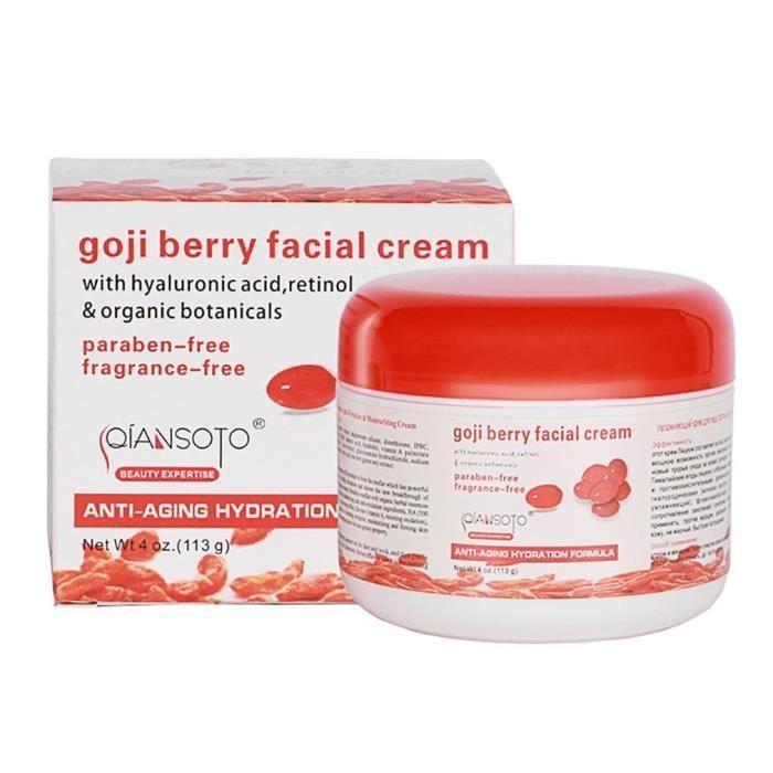Crème pour le visage à la baie de Goji Accessoires hydratants anti-âge Acide hyaluronique