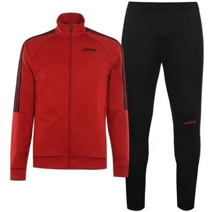 Jogging Homme Adidas Performance 3 bandes Noir et Rouge