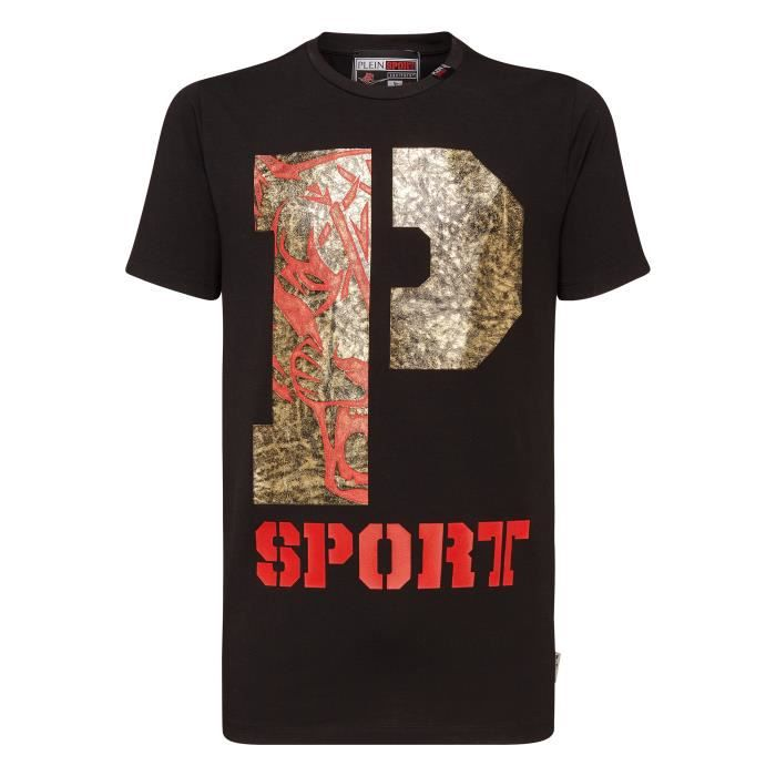 PLEIN SPORT Tshirt - Black White and Red - For Men - édition -P Sport- - Référence : MTK2580SJY001N0270