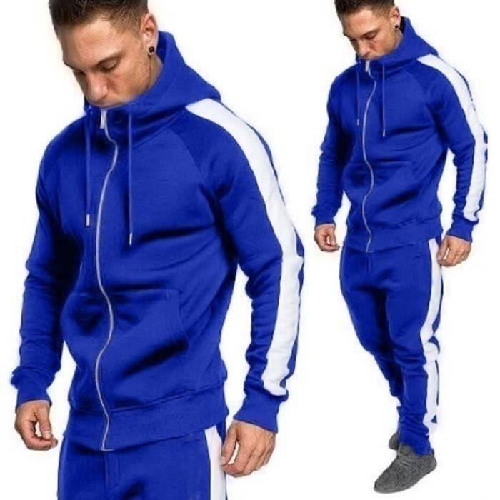 Hommes Automne Hiver Zipper Imprimer Sweat Top Pantalons Ensembles Survêtement Sport Suit ZHS81206728BUL_oaw