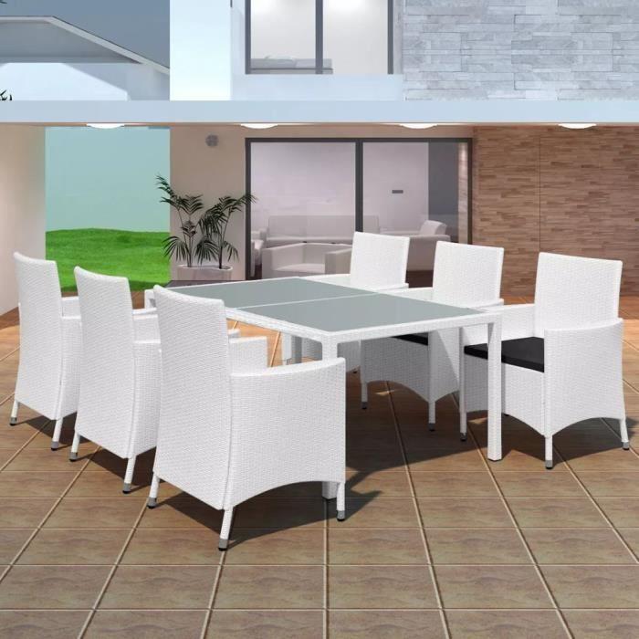Luxueux Magnifique Moderne-Mobilier de jardin Salon de jardin 7 pcs Résine tressée Blanc-crème