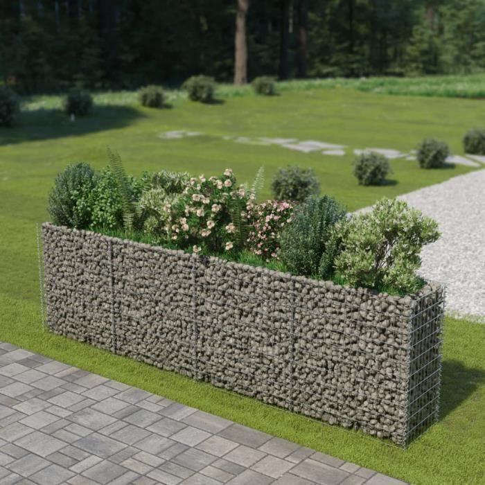 Haute qualité Jardinière à gabion Acier galvanisé 360 x 50 x 100 cm