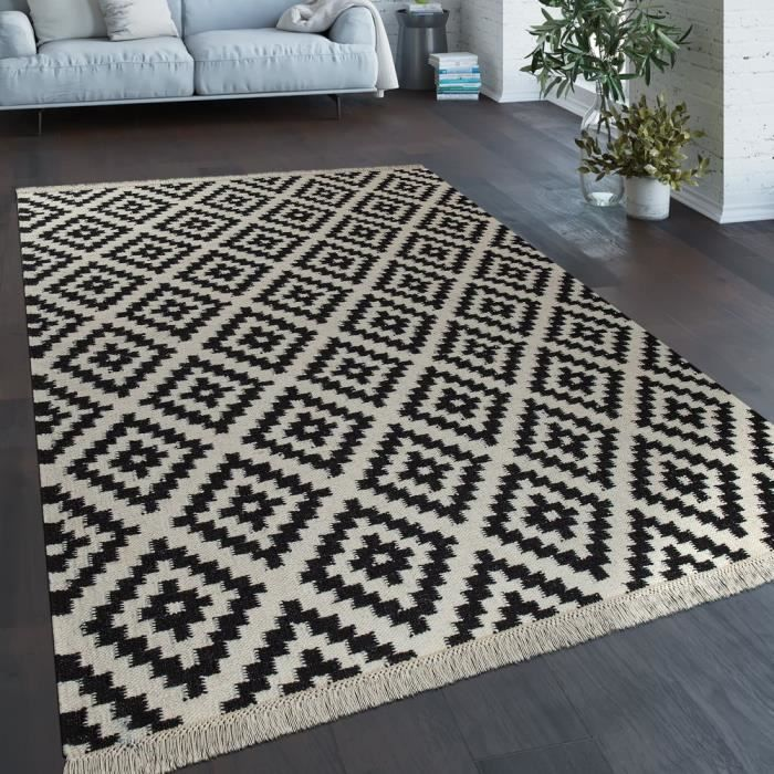Tapis Tissé Main Tendance Moderne Design Marocain Franges Noir Blanc [160x230 cm]