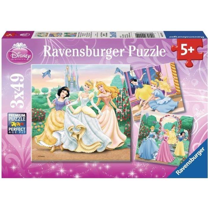 PRINCESSES DISNEY Puzzles 3x49 pièces - Rêves de princesses - Ravensburger - Lot de puzzles enfant - Dès 5 ans